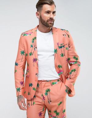 ASOS Облегающий пиджак кораллового цвета с тропическим принтом. Цвет: розовый