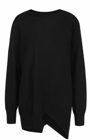 Шерстяной пуловер свободного кроя с круглым вырезом Yohji Yamamoto. Цвет: черный