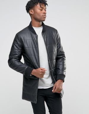 BL7CK Длинная дутая куртка из искусственной кожи. Цвет: черный