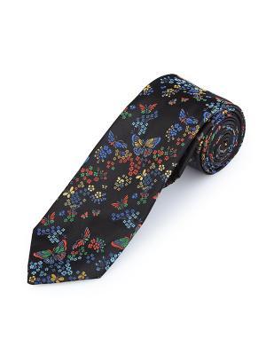 Галстук Butterfly Summer Floral Black Duchamp. Цвет: черный, голубой, желтый, лазурный, светло-голубой, светло-желтый, светло-зеленый, серо-голубой, темно-красный