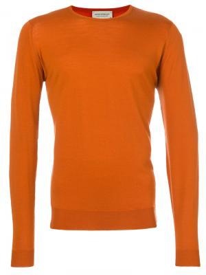 Джемпер с круглым вырезом John Smedley. Цвет: жёлтый и оранжевый
