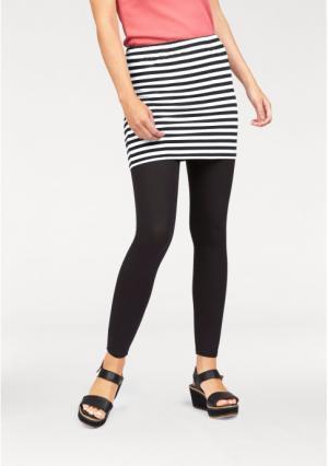 Комплект, 2 части: юбка + легинсы Flashlights. Цвет: коралловый/белый в полоску+коралловый, серый/белый в полоску+серый меланжевый, черный/белый в полоску+черный