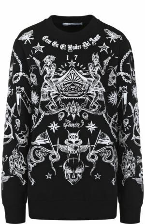 Хлопковый свитшот с принтом Givenchy. Цвет: черный