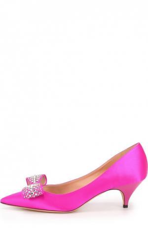 Атласные туфли с декорированным бантом Rochas. Цвет: фуксия