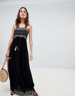 Anmol Пляжное платье макси с золотистой аппликацией. Цвет: темно-синий