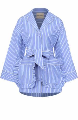 Хлопковая блуза в полоску с накладными карманами и поясом Erika Cavallini. Цвет: голубой