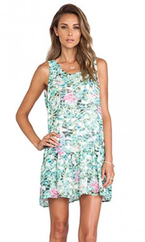 Обегающее сверху и плиссированное от пояса платье barbados Lovers + Friends. Цвет: мята