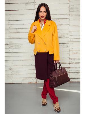 Пальто Exalta. Цвет: желтый, темно-фиолетовый