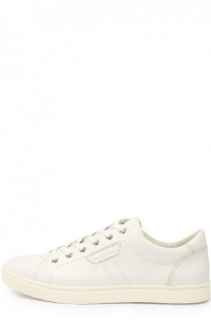 Кожаные кеды London на шнуровке Dolce & Gabbana. Цвет: белый