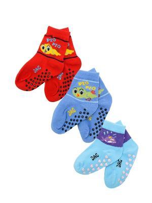 Носки детские, комплект 3 шт. DAG. Цвет: голубой