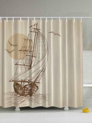 Фотоштора для ванной Корабль в бирюзовом озере, лодка на фоне Солнца, Ноев ковчег , 180*200 см Magic Lady. Цвет: бежевый