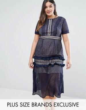 Truly You Кружевное платье миди. Цвет: темно-синий