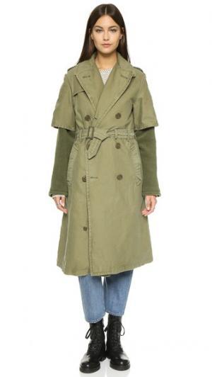 Пальто-тренч на подкладке NLST. Цвет: оливковый