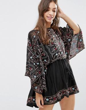 Free People Платье с вышивкой Frida. Цвет: черный