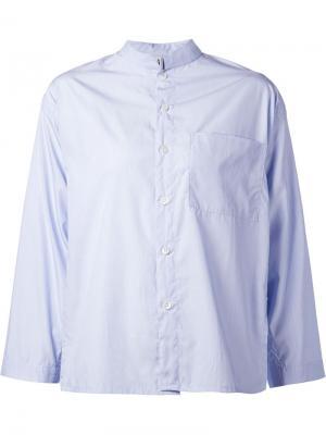 Рубашка с воротником-мандарин Liwan. Цвет: синий