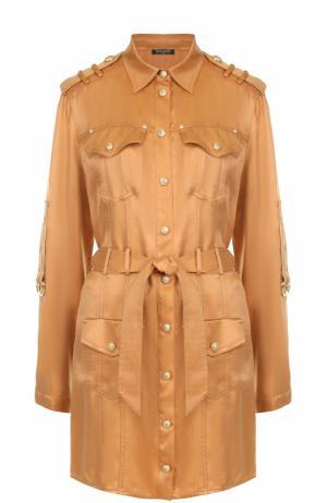 Платье-рубашка с поясом и погонами Balmain. Цвет: бежевый