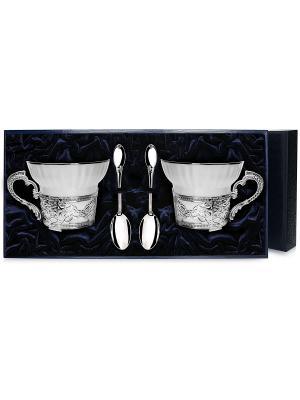 Набор чашек чайных Константин Великий+ложки (4 предмета) 925+футляр АргентА. Цвет: серебристый