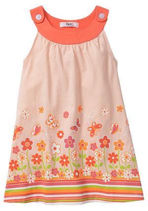 Платье. Цвет: персиковый с рисунком