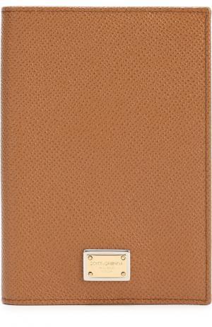 Кожаная обложка для документов Dolce & Gabbana. Цвет: бежевый