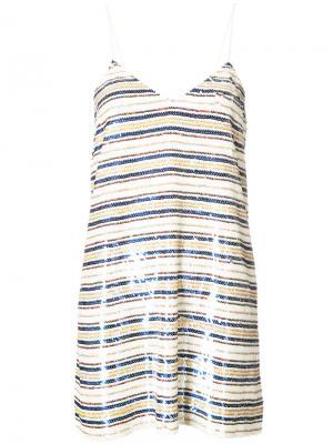 Расшитое пайетками полосатое платье Ashish. Цвет: белый