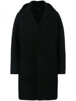 Пальто кроя миди с капюшоном Hevo. Цвет: чёрный