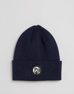 Paul Smith Темно-синяя шапка-бини из мериносовой шерсти PS By. Цвет: темно-синий