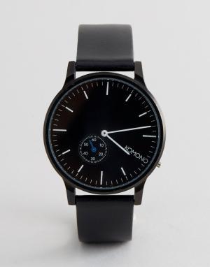 Komono Часы с черным кожаным ремешком Winston. Цвет: черный