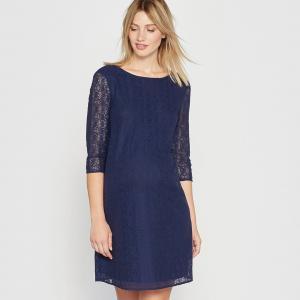 Платье из кружева для периода беременности La Redoute Collections. Цвет: синий морской