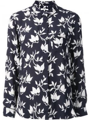 Рубашка с цветочным принтом Ganni. Цвет: синий