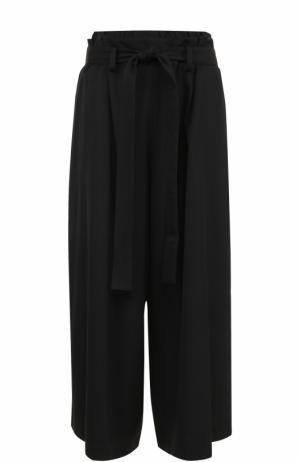 Укороченные широкие брюки с поясом Yohji Yamamoto. Цвет: черный