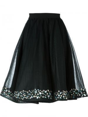 Пышная юбка с цветочной аппликацией Manish Arora. Цвет: чёрный