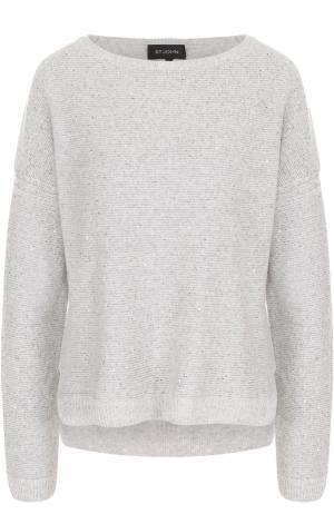 Кашемировый пуловер с круглым вырезом и пайетками St. John. Цвет: светло-серый