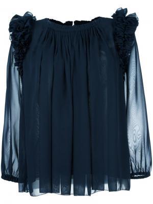 Блузка с оборками Steffen Schraut. Цвет: синий