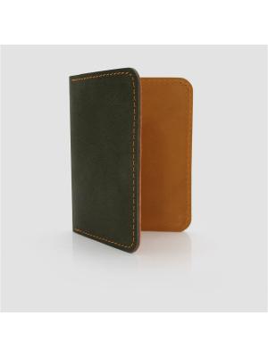 Картхолдер книжка натуральная кожа IN.HAND. Цвет: хаки, оранжевый