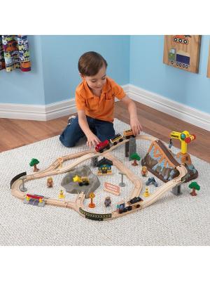 Железная дорога - деревянный игровой набор Горная стройка, в  контейнере KidKraft. Цвет: бежевый