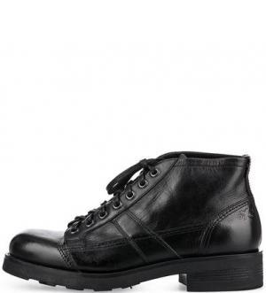 Черные кожаные ботинки O.X.S.. Цвет: черный