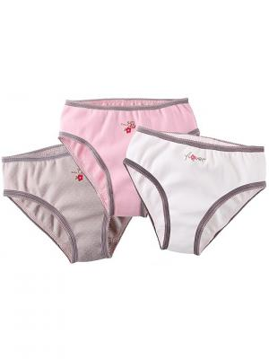 Трусы слипы для девочки, 3 шт. Наша Мама. Цвет: серый, белый, розовый