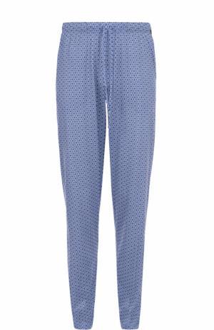 Хлопковые брюки свободного кроя Hanro. Цвет: синий