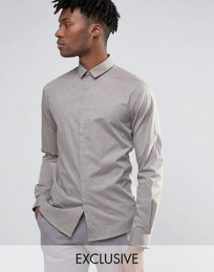Noak Меланжевая облегающая рубашка. Цвет: stone