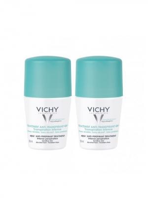 Vichy набор дезодорантов регулирующий против избыточного потоотделения, 2х50мл. Цвет: светло-зеленый, белый