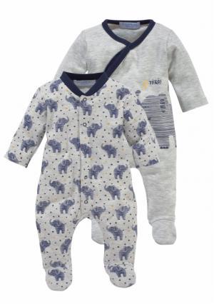Пижама, 2 штуки KLITZEKLEIN. Цвет: светло-серый+с рисунком