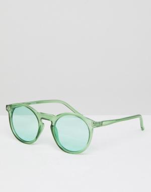 ASOS Круглые солнцезащитные очки в прозрачной зеленой оправе с зелеными сте. Цвет: зеленый