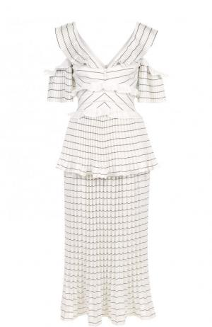 Приталенное платье-миди с плиссированной юбкой и разрезами на плечах self-portrait. Цвет: черно-белый