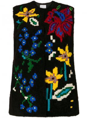 Shearling embroidered gilet Valentino. Цвет: коричневый