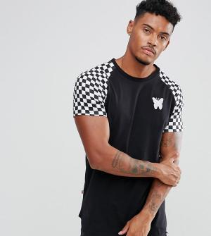 Good For Nothing Черная облегающая футболка с рукавами в шахматную клетку Noth. Цвет: черный