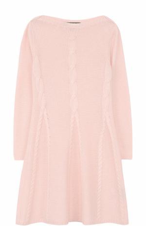Кашемировое платье с фактурным узором Loro Piana. Цвет: розовый