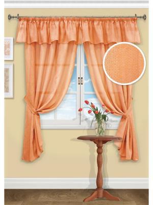 Комплект штор Chain-S, 2 шторы 140х185см, ламбрекен 286х38см, подхвата Kauffort. Цвет: оранжевый
