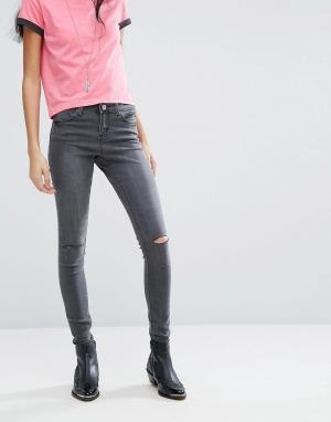 Brave Soul Зауженные джинсы с рваной отделкой Anna. Цвет: серый