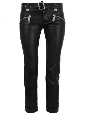 Укороченные байкерские брюки Dsquared2. Цвет: чёрный