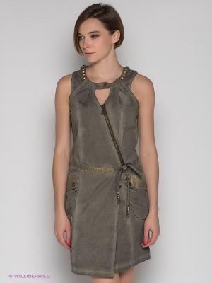 Платье Not The Same. Цвет: серо-коричневый, золотистый